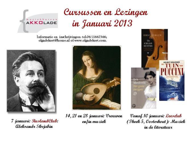 Cursussen en lezingen in januari 2013