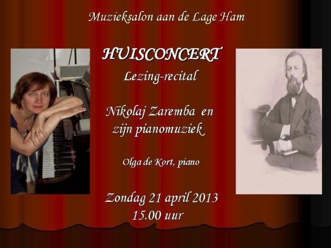 Huisconcert, 21 april 2013, Olga de Kort, Dongen
